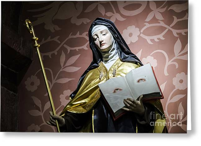 Wooden Sculpture Greeting Cards - Beautiful sculpture in old church Greeting Card by Alexander Sorokopud