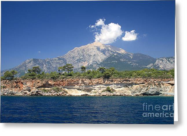 Blue Green Water Greeting Cards - Beautiful Sea Mountains Greeting Card by Boon Mee