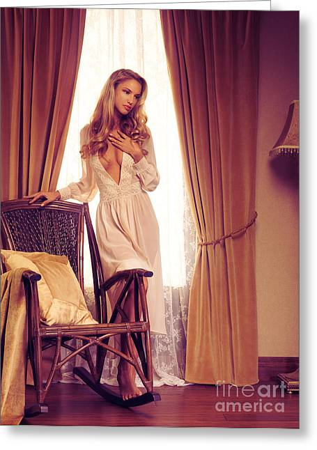 Full Body Greeting Cards - Beautiful sensual woman standing at a window Greeting Card by Oleksiy Maksymenko