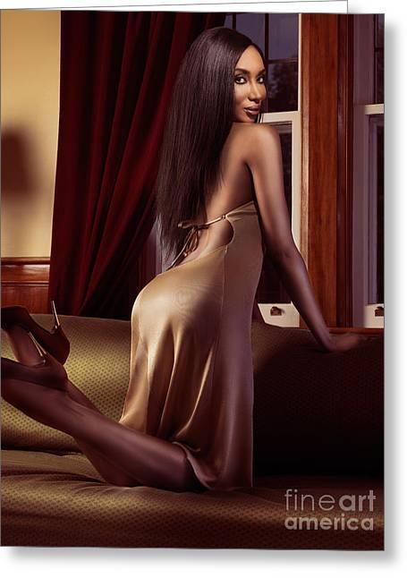 Straight Hair Greeting Cards - Beautiful sexy black woman near a window Greeting Card by Oleksiy Maksymenko