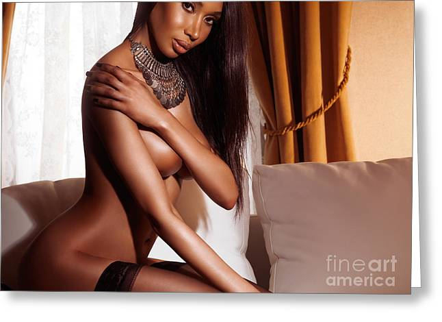 Three-quarter Length Greeting Cards - Beautiful sexy half nude black woman posing on sofa Greeting Card by Oleksiy Maksymenko