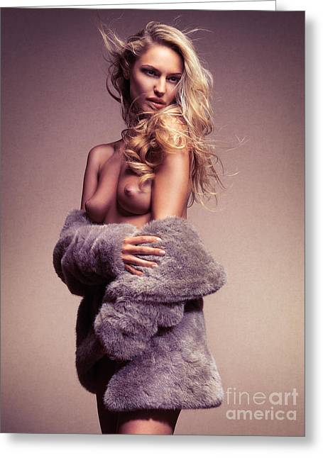 Three-quarter Length Greeting Cards - Beautiful sexy half nude woman in fur jacket Greeting Card by Oleksiy Maksymenko