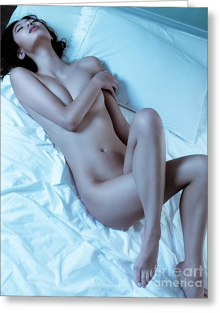 Beautiful Sexy Nude Woman Lying On White Sheets Greeting Card by Oleksiy Maksymenko