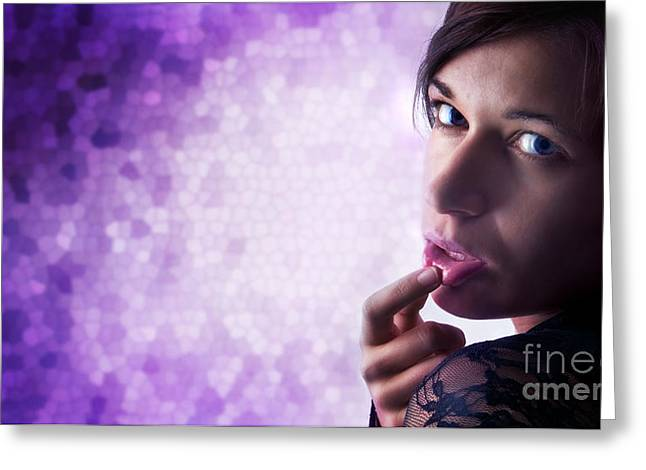 Empty Eyes Greeting Cards - Beautiful sexy woman Greeting Card by Michal Bednarek