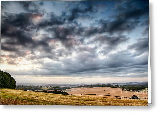 Farmers Field Greeting Cards - Beautiful skies over farmland Greeting Card by Simon Bratt Photography LRPS