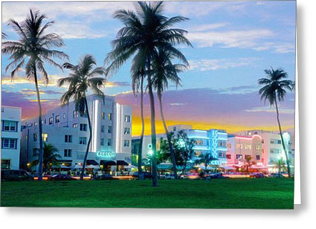 Miami Mixed Media Greeting Cards - Beautiful South Beach Greeting Card by Jon Neidert