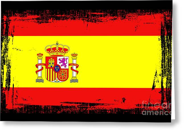Europe Mixed Media Greeting Cards - Beautiful Spain Flag Greeting Card by Pamela Johnson