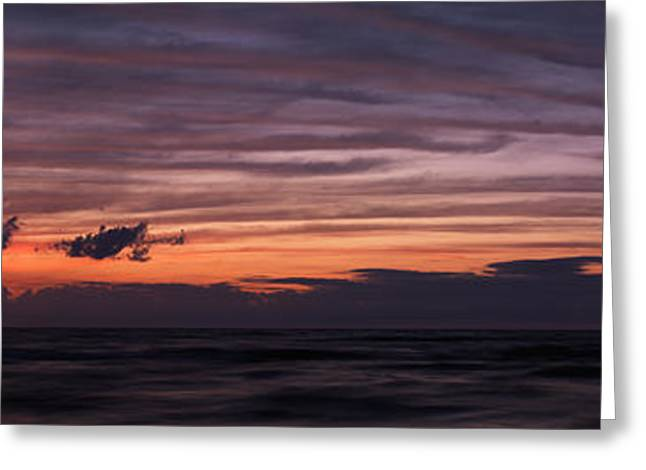 Abstract Beach Landscape Greeting Cards - Beautiful stripy sky over lake Huron at twilight Greeting Card by Oleksiy Maksymenko