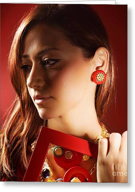Hair Accessory Greeting Cards - Beautiful stylish woman Greeting Card by Anna Omelchenko