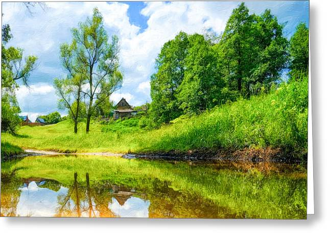 Handmade Trunk Greeting Cards - Beautiful summer landscape Greeting Card by Lanjee Chee