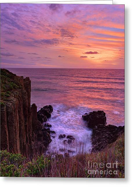 Turbulent Skies Greeting Cards - Beautiful sunrise highlights stunning volcanic sea cliffs Greeting Card by Leah-Anne Thompson