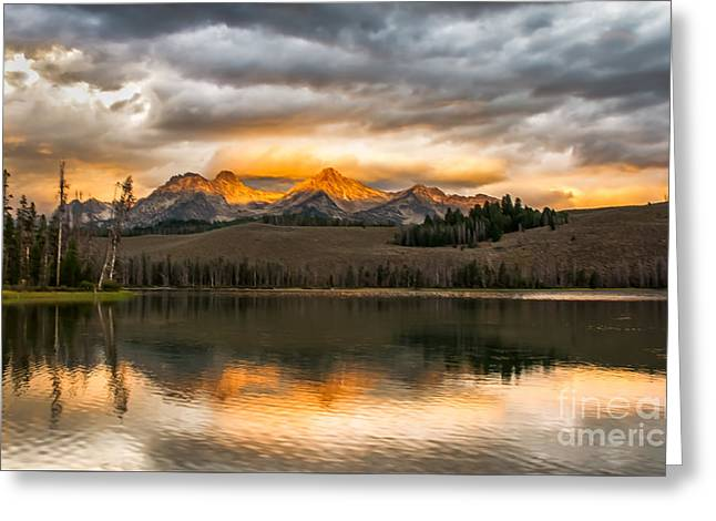 Haybale Greeting Cards - Beautiful Sunrise On Little Redfish Lake Greeting Card by Robert Bales