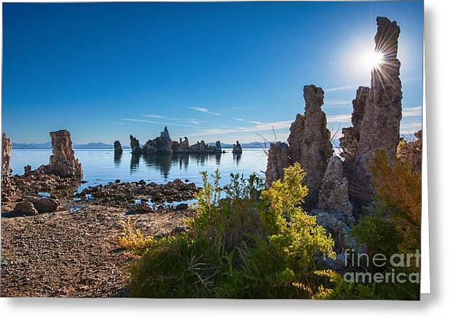 Burst Greeting Cards - Beautiful sunrise view of the strange Tufa Towers of Mono Lake. Greeting Card by Jamie Pham