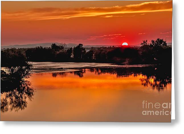 Haybales Greeting Cards - Beautiful sunset On The Payette River Greeting Card by Robert Bales
