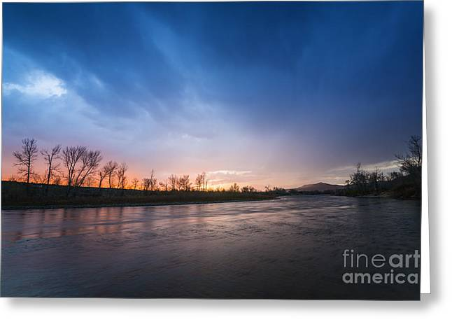 Reflections Of Sky In Water Greeting Cards - Beautiful sunset over Boise River in Boise idaho Greeting Card by Vishwanath Bhat