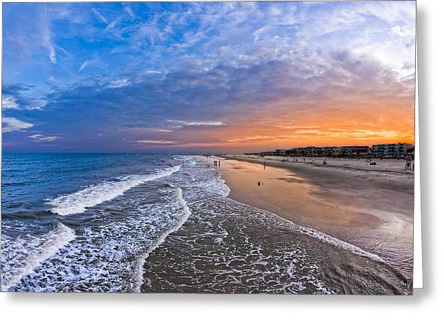 On The Beach Greeting Cards - Beautiful Sunset Over Tybee Island Greeting Card by Mark Tisdale