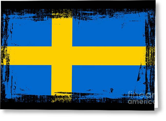 Europe Mixed Media Greeting Cards - Beautiful Sweden Flag Greeting Card by Pamela Johnson