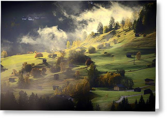 Swiss Photographs Greeting Cards - Beautiful Swiss Valley Sunrise Greeting Card by Mountain Dreams