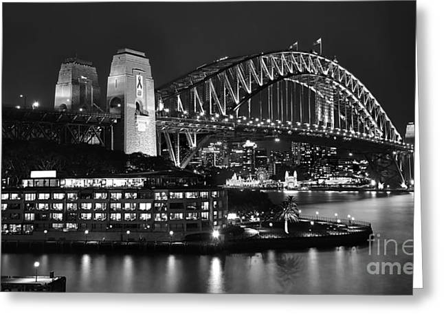 Kaye Menner Landscape Greeting Cards - Beautiful Sydney Harbour in Black and White Greeting Card by Kaye Menner