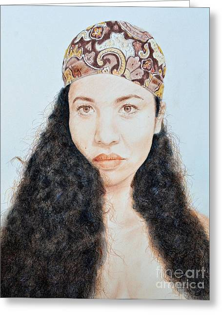 Jim Fitzpatrick Mixed Media Greeting Cards - Beautiful Thai  Artist and Model Dao Greeting Card by Jim Fitzpatrick