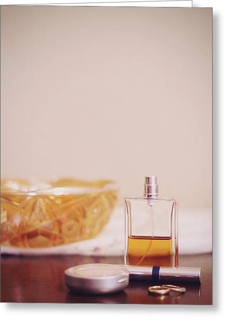 Perfume Bottle Greeting Cards - Beautiful Things  Greeting Card by Trish Mistric