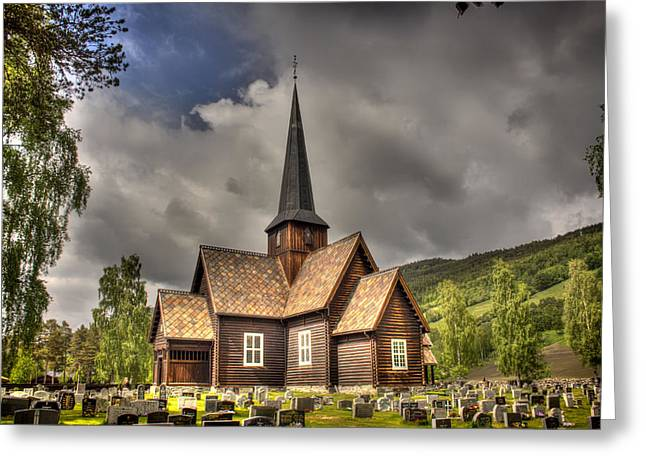 Headstones Greeting Cards - Beautiful Timber Church in Norway Greeting Card by Mountain Dreams