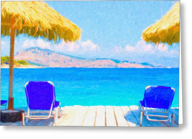 Chaise Paintings Greeting Cards - Beautiful tropical beach with deck chairs Greeting Card by Lanjee Chee