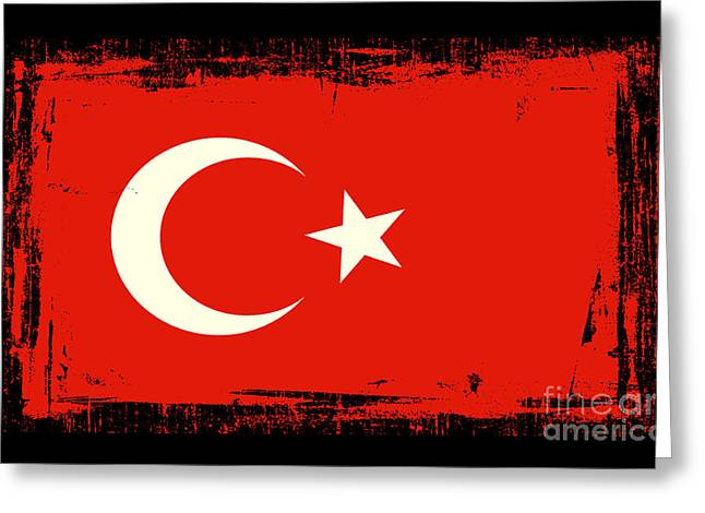 Istanbul Mixed Media Greeting Cards - Beautiful Turkey Flag Greeting Card by Pamela Johnson