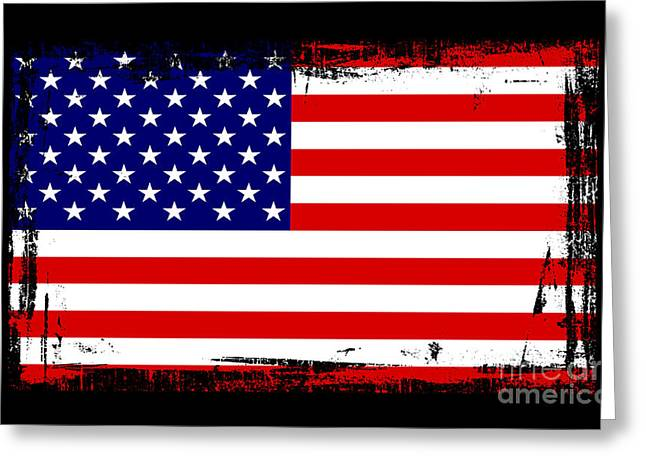 Usa Flag Mixed Media Greeting Cards - Beautiful United States Flag Greeting Card by Pamela Johnson