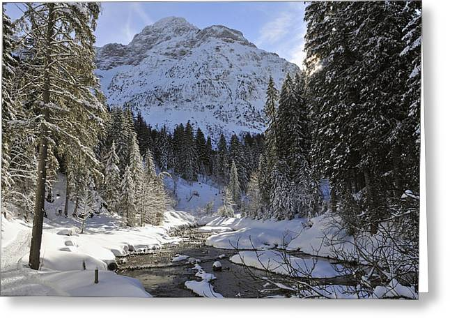 Snow-covered Landscape Greeting Cards - Beautiful valley in winter - Snowy trees river and mountains Greeting Card by Matthias Hauser