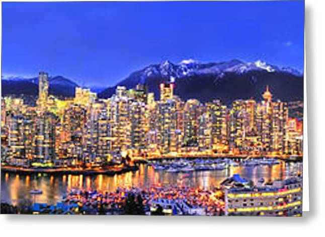 Vancouver At Night Greeting Cards - Beautiful Vancouver Panorama Greeting Card by Wesley Allen Shaw
