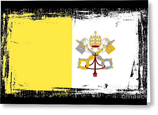 Europe Mixed Media Greeting Cards - Beautiful Vatican City Flag Greeting Card by Pamela Johnson