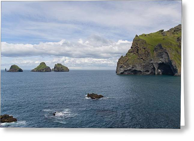 Cliffs Over Ocean Greeting Cards - Beautiful Vestmannaeyjar Greeting Card by Brian Kamprath
