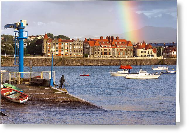 beautiful view of promenade of Getxo port with stormy weather Greeting Card by Mikel Martinez de Osaba
