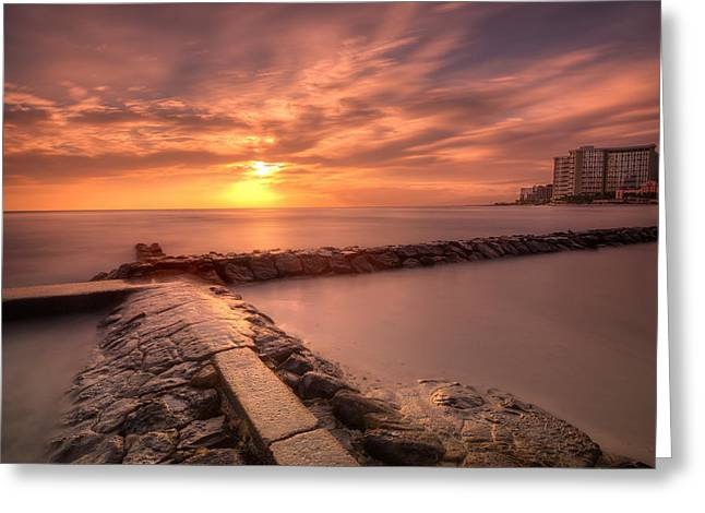 Seawall Greeting Cards - Beautiful Waikiki Sunset Greeting Card by Tin Lung Chao