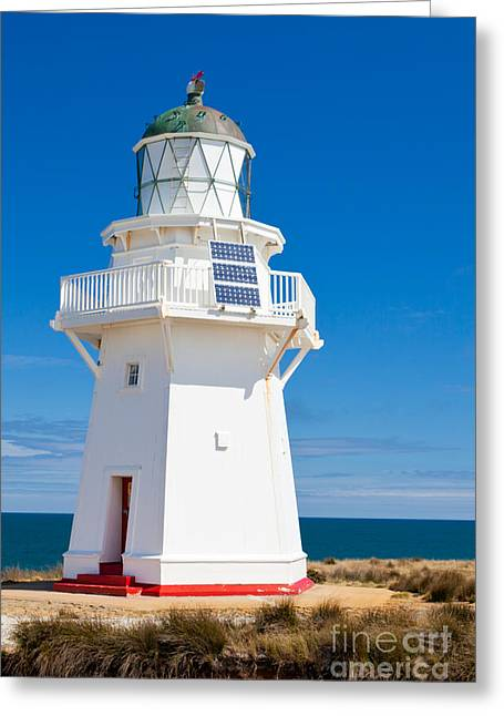 Restore The Shore Greeting Cards - Beautiful Wairapa Point Lighthouse The Catlins NZ Greeting Card by Stephan Pietzko