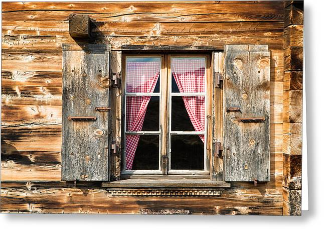 Fenster Photographs Greeting Cards - Beautiful window wooden facade of a Chalet in Switzerland Greeting Card by Matthias Hauser