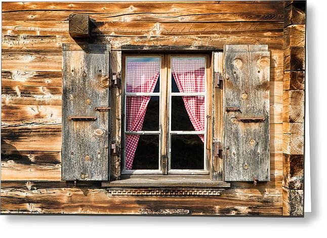 Wooden Shutters Greeting Cards - Beautiful window wooden facade of a Chalet in Switzerland Greeting Card by Matthias Hauser