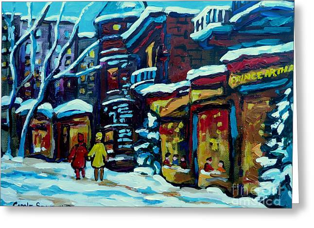 Prince Arthur Restaurants Greeting Cards - Beautiful Winter Evening Greeting Card by Carole Spandau