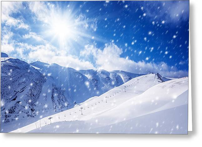 Sun Peaks Resort Greeting Cards - Beautiful winter landscape Greeting Card by Anna Omelchenko
