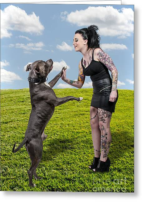 Pit Bull Owner Greeting Cards - Beautiful Woman and Pit Bull Greeting Card by Rob Byron