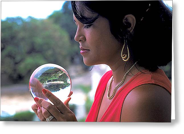 Gold Earrings Photographs Greeting Cards - Beautiful Woman Gazes Into Crystal Ball Greeting Card by Carl Purcell