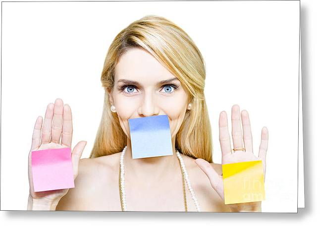 Advertising Office Greeting Cards - Beautiful woman holding blank message sticky paper Greeting Card by Ryan Jorgensen