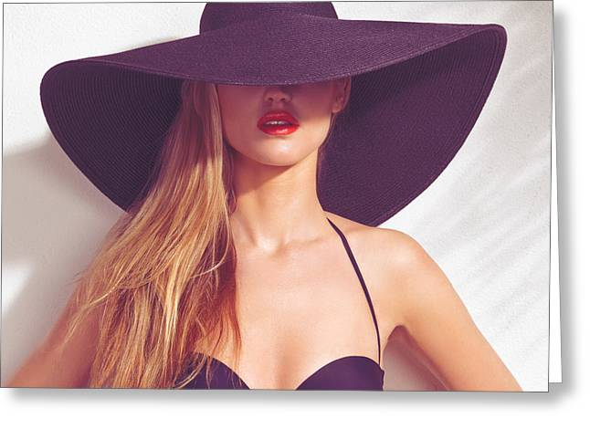 Sun Hat Greeting Cards - Beautiful woman in sunhat and swimsuit Greeting Card by Oleksiy Maksymenko