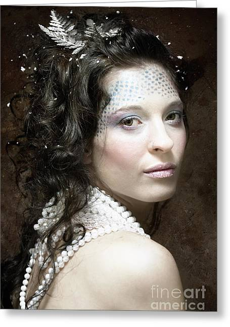 Beautiful Woman Looking Over Shoulder Eye Contact Greeting Card by Joe Fox
