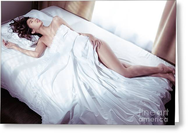 Beautiful Woman Sleeping Naked In Bed Covered With White Sheets  Greeting Card by Oleksiy Maksymenko