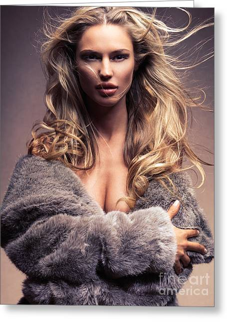 Gold Jacket Greeting Cards - Beautiful woman with flying blond hair wearing fur Greeting Card by Oleksiy Maksymenko