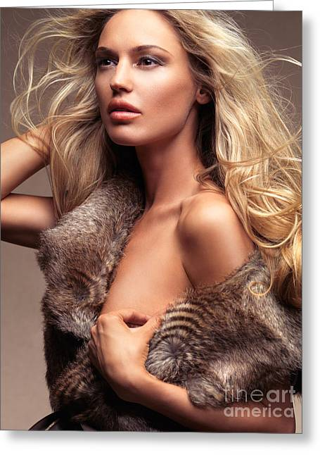 Gold Jacket Greeting Cards - Beautiful woman with flying blond hair wearing fur over bare bod Greeting Card by Oleksiy Maksymenko
