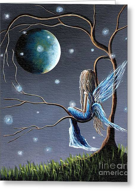 Recently Sold -  - Night Angel Greeting Cards - Fairy Art Print - Original Artwork Greeting Card by Shawna Erback