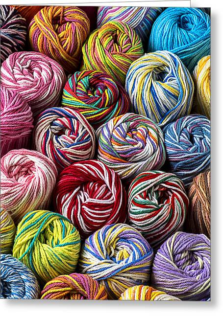 Cotton Balls Greeting Cards - Beautiful Yarn Greeting Card by Garry Gay